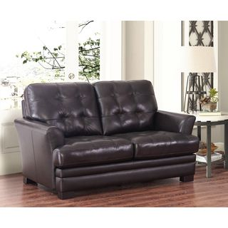 Shop for Abbyson Living Divani Espresso Top Grain Leather Loveseat ...
