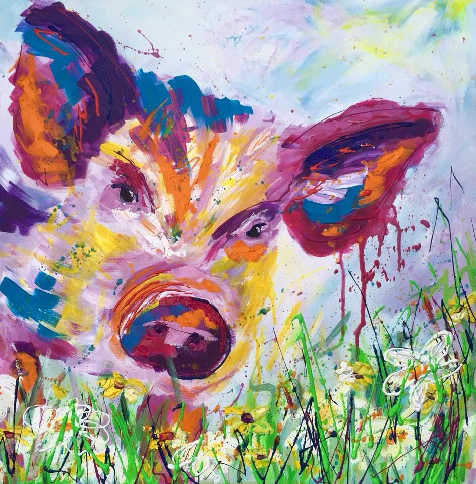 Abstract splatter pig painting projects to try for Abstract animal paintings