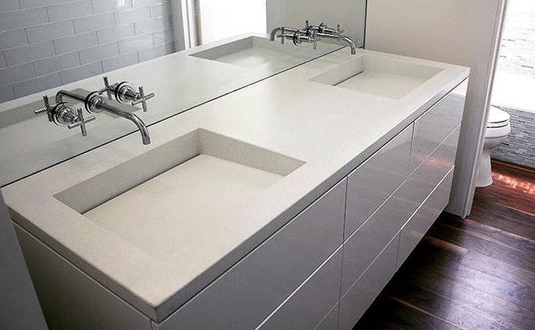Custom Bathroom Projects With Integral Concrete Sinks Are Some Of
