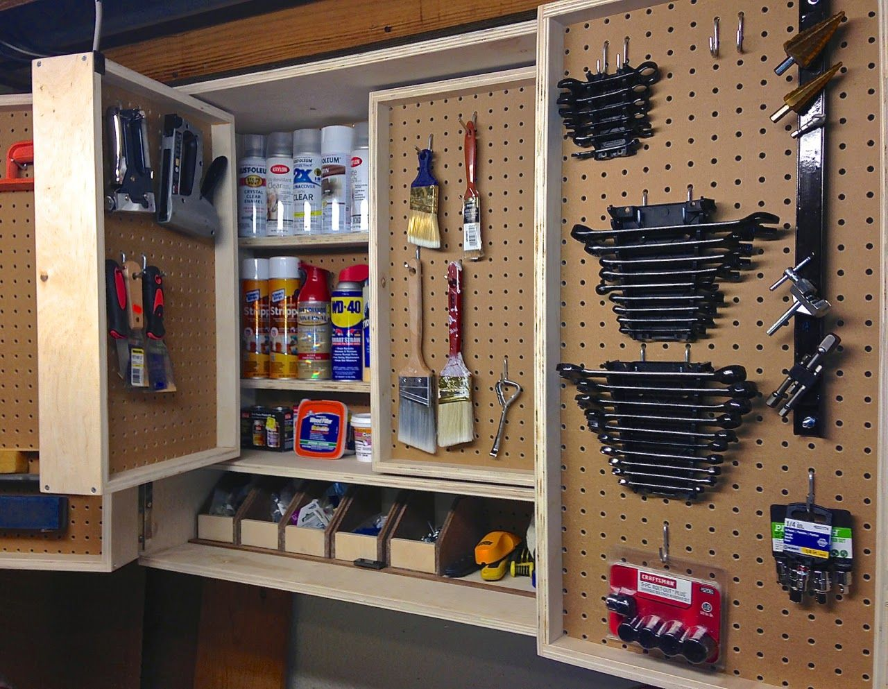 The project lady pegboard tool storage cabinet project garage