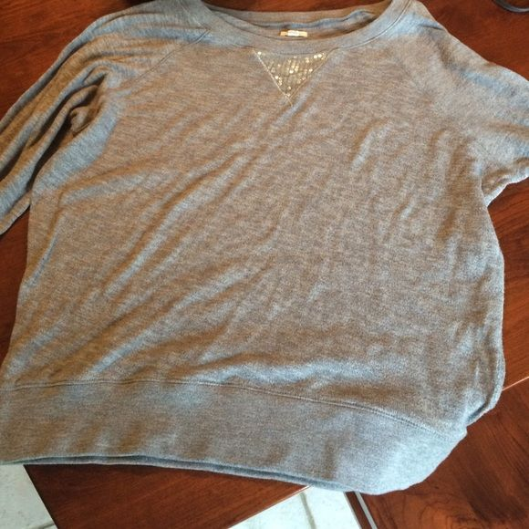 Long Sleeved Sweater from Aerie by American Eagle A cute, grey,  long sleeved sweater perfect for any occasion! Includes embellishments on the front. aerie Tops Tees - Long Sleeve