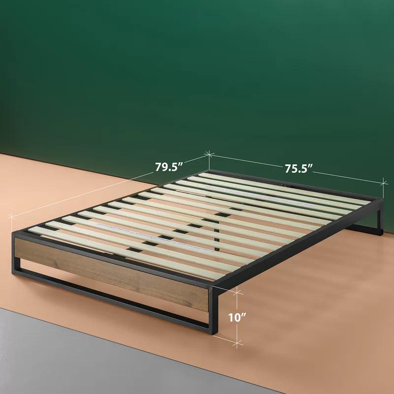 Park Platform Bed In 2020 Wood Slats Black Headboard Platform