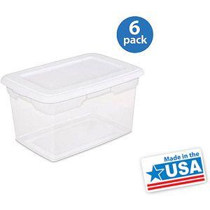 sterilite 20 quart storage box white set of 6