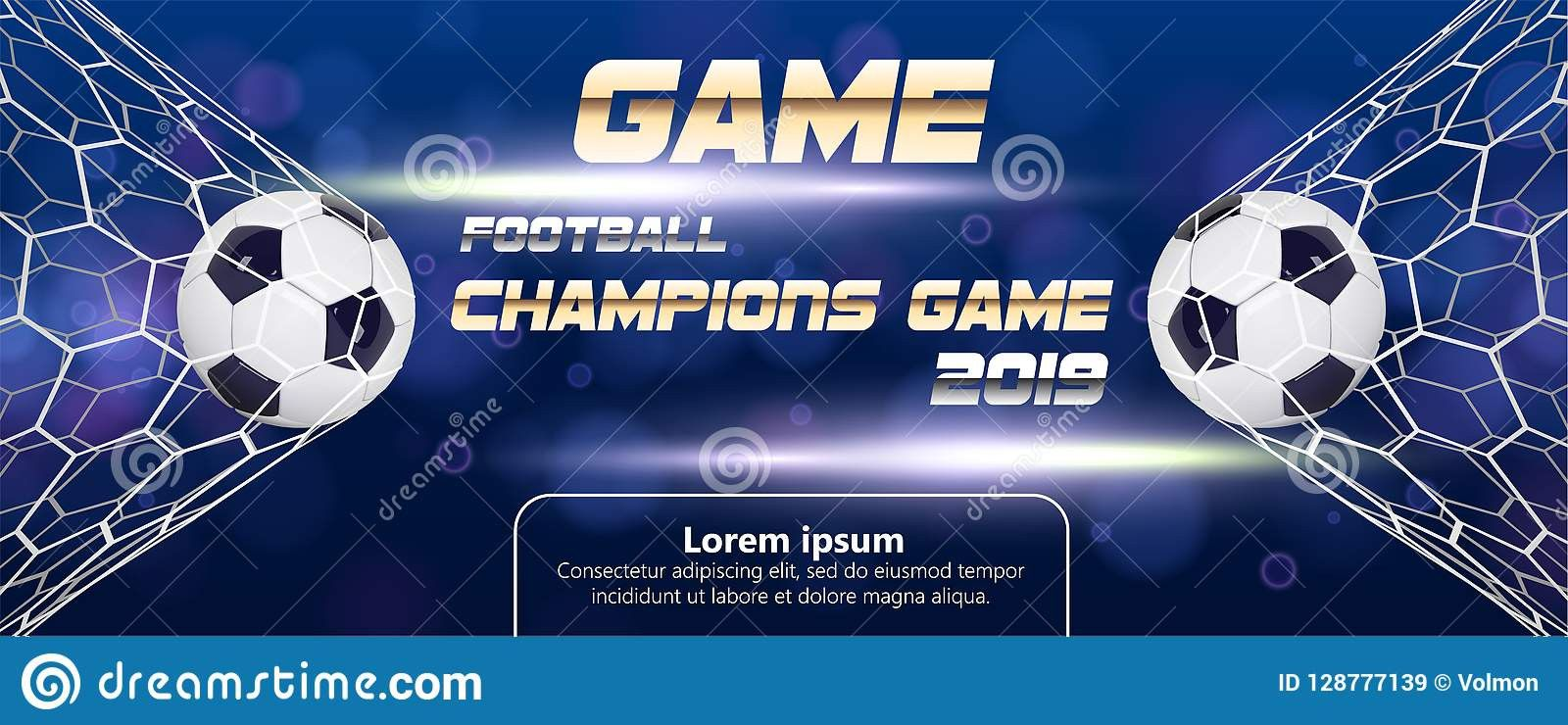 Football Tournament Poster Template Free Unique Soccer Football Banner With 3d Ball Blue Background In 2020 Poster Template Free Poster Template Poster Template Design
