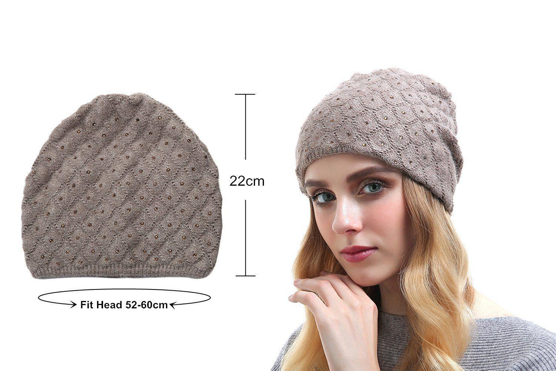 301718721173d4 Queenfur Womens Wool Hat - Winter Cashmere Caps Oversized Beanies With  Rhinestones Ski Hats