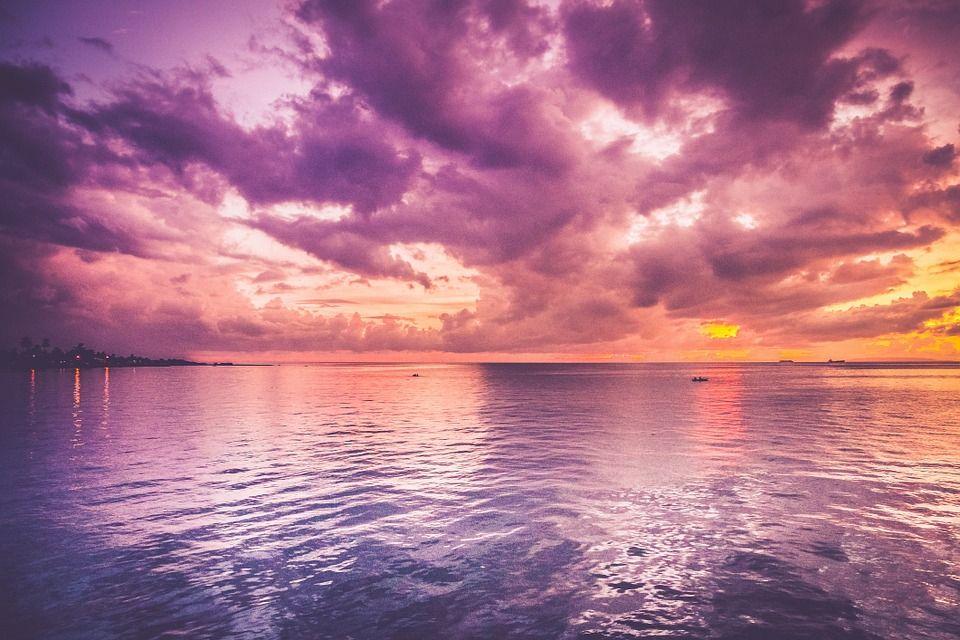 日没, 海, 紫, 印象的です, 夜, シーン, 水, 反射, 穏やかな, 静かな, 平和, ロマンチック