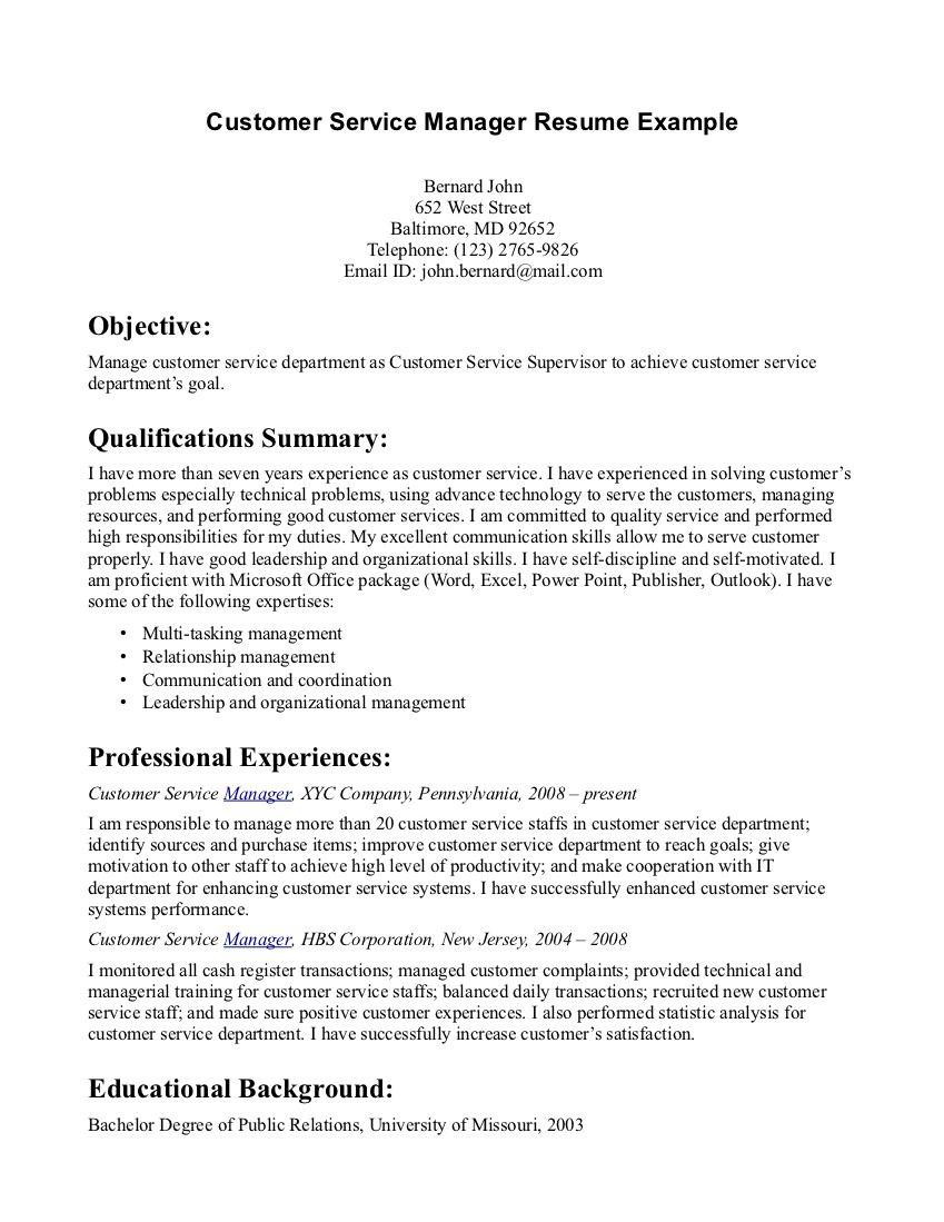 Customer Service Manager Resume http//www.resumecareer