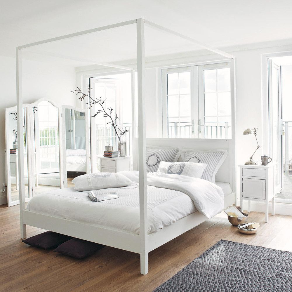 Maison Du Monde Letto Baldacchino.Letto A Baldacchino 160 X 200 Bianco Sporco In Pino In 2019