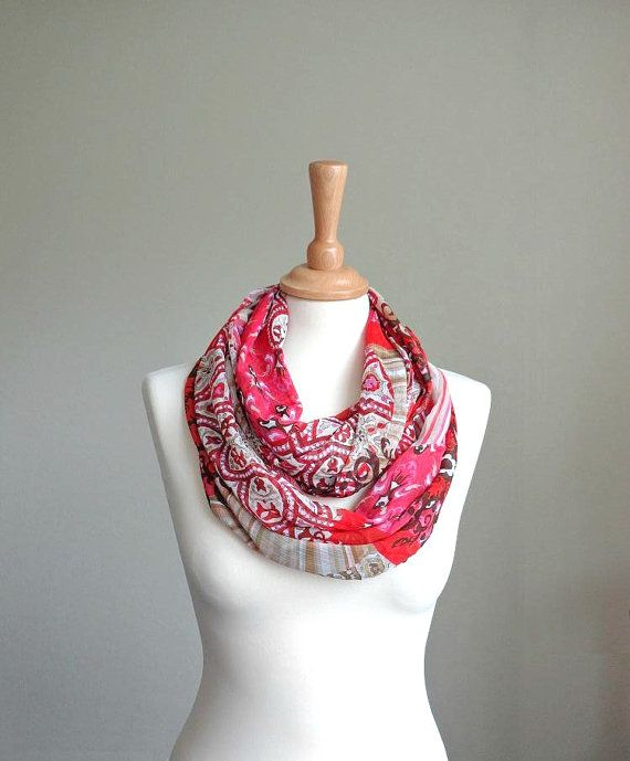 Red summer chiffon infinity scarf , floral circle scarf , infinite lightweight , shawl , loop boho , coral europeanstreetteam