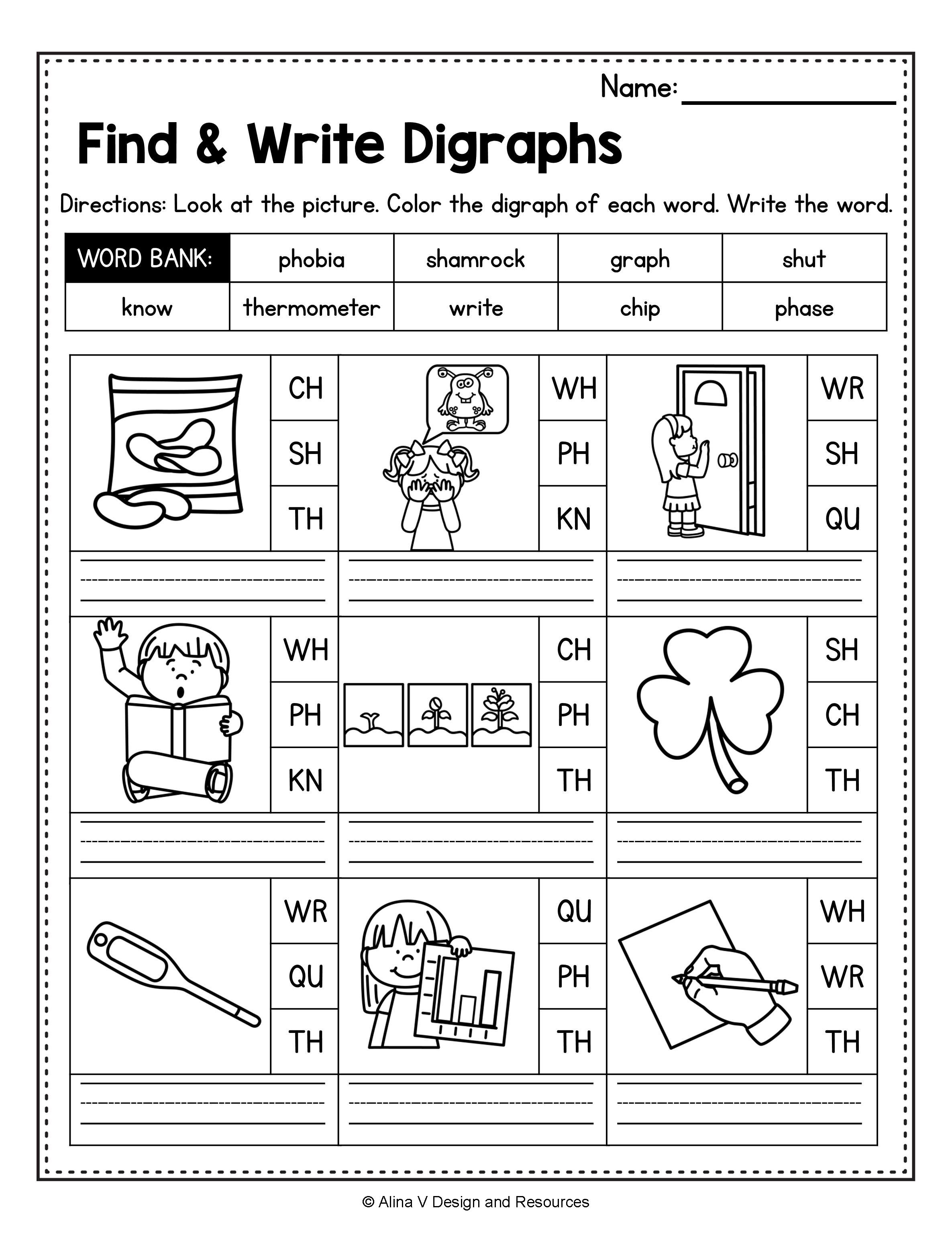 Consonant Digraphs Worksheets Sh Ch Th Wh Ph Kn Wr Qu In 2020 Digraph Kindergarten Reading Worksheets Phonics Activities