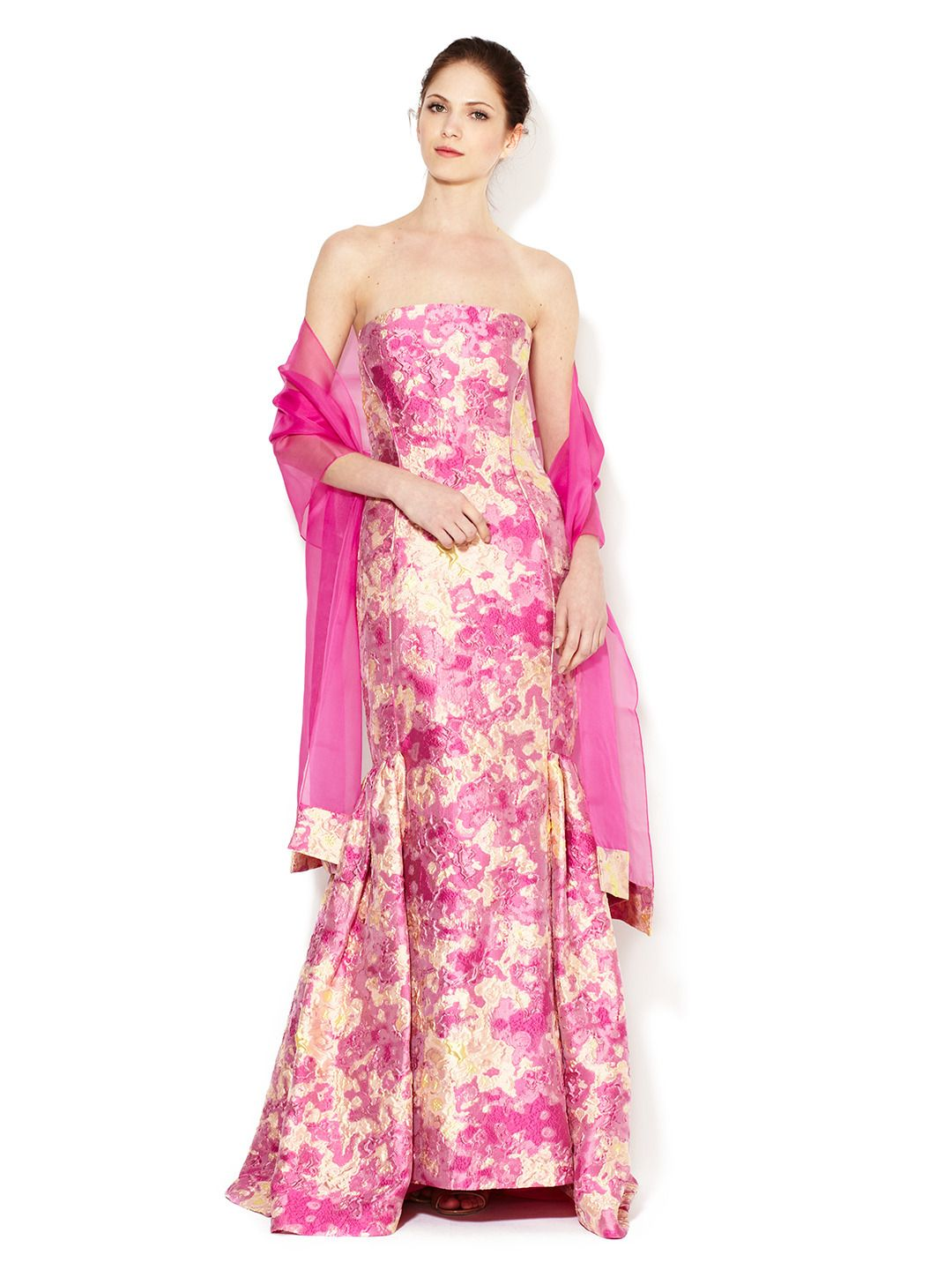 Strapless Peony Brocade Gown by Theia at Gilt | Cierra Los Ojos ...