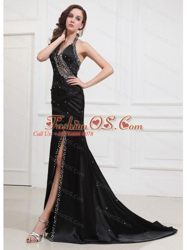Beading Halter Brushsweep Prom Dress Elastic Woven Satin Column