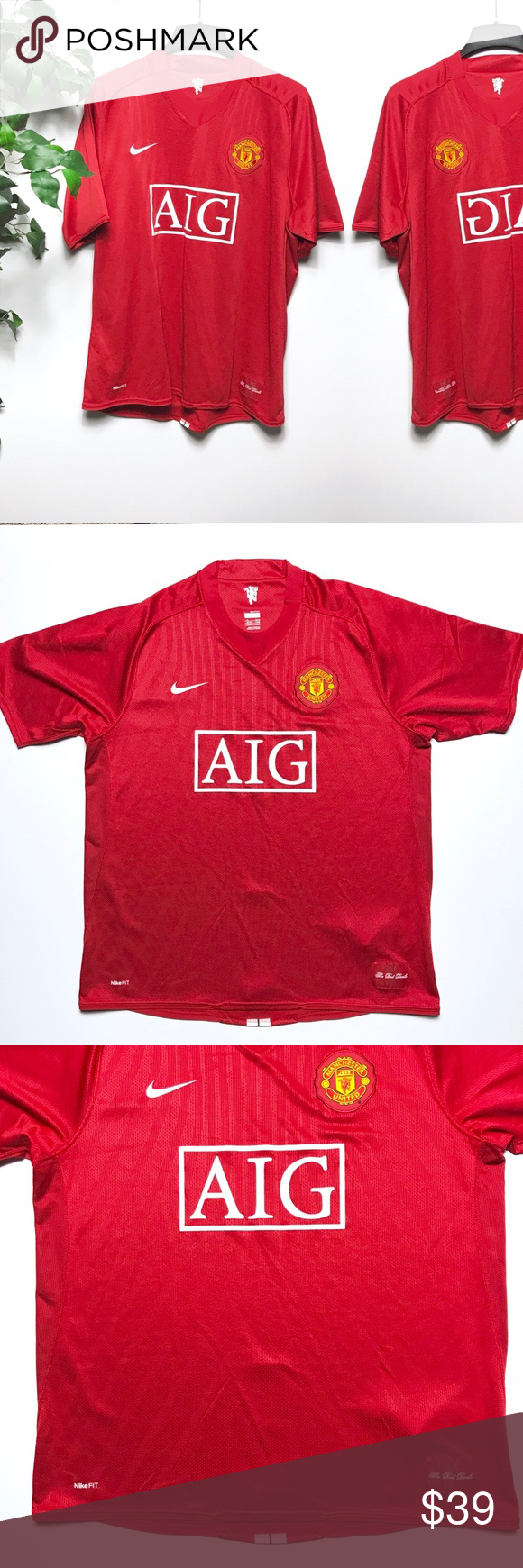 0cb84ab6c Nike AIG Manchester United Soccer Red Jersey - XL Awesome Nike fro-fit Manchester  United
