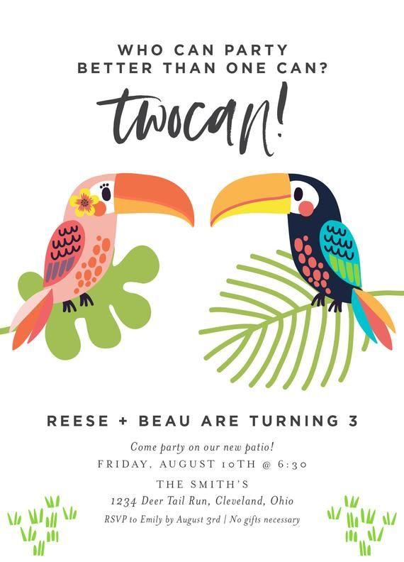 Toucan Tropical Birthday Invitation, Twin Birthday Party Invitation (deposit) #tropicalbirthdayparty