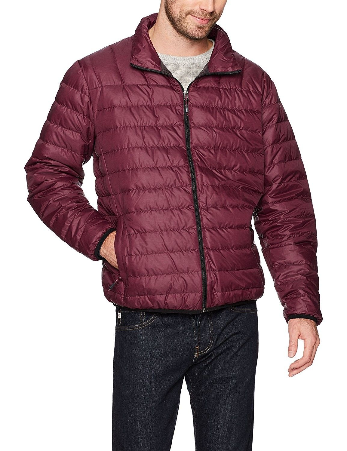 Hawke & Co Men's Poly Packable Puffer Jacket Eggplant
