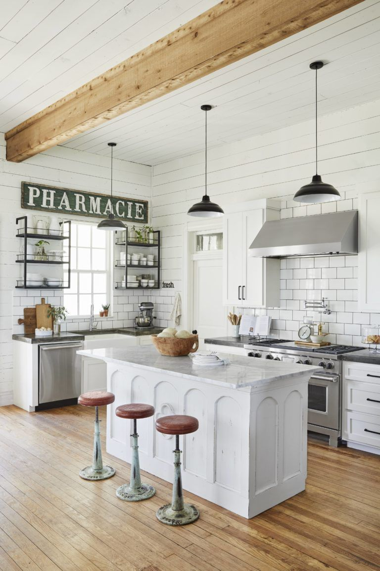 A Look Inside Our Farmhouse In 2020 Joanna Gaines Kitchen Kitchen Style Open Kitchen Shelves