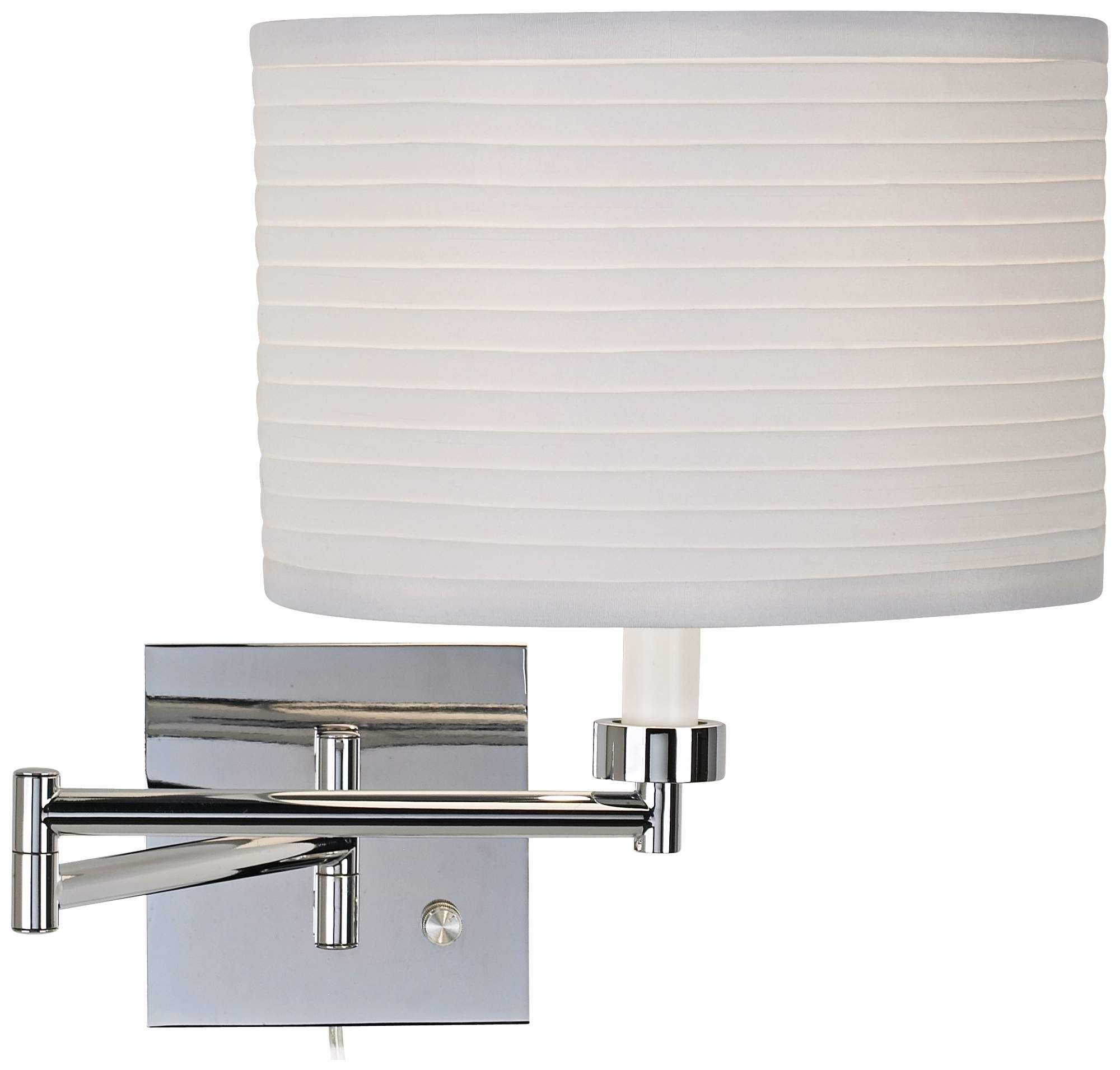 Ribbed Shade Chrome Finish Plug In Swing Arm Wall Lamp