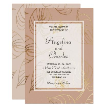 Dusty Rose Exotic Gold Floral Wedding Invitation - wedding - Formal Invitation Letters