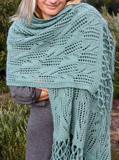 Knitting Pattern for Faraway Blues Lace Wrap - The lace instructions ...