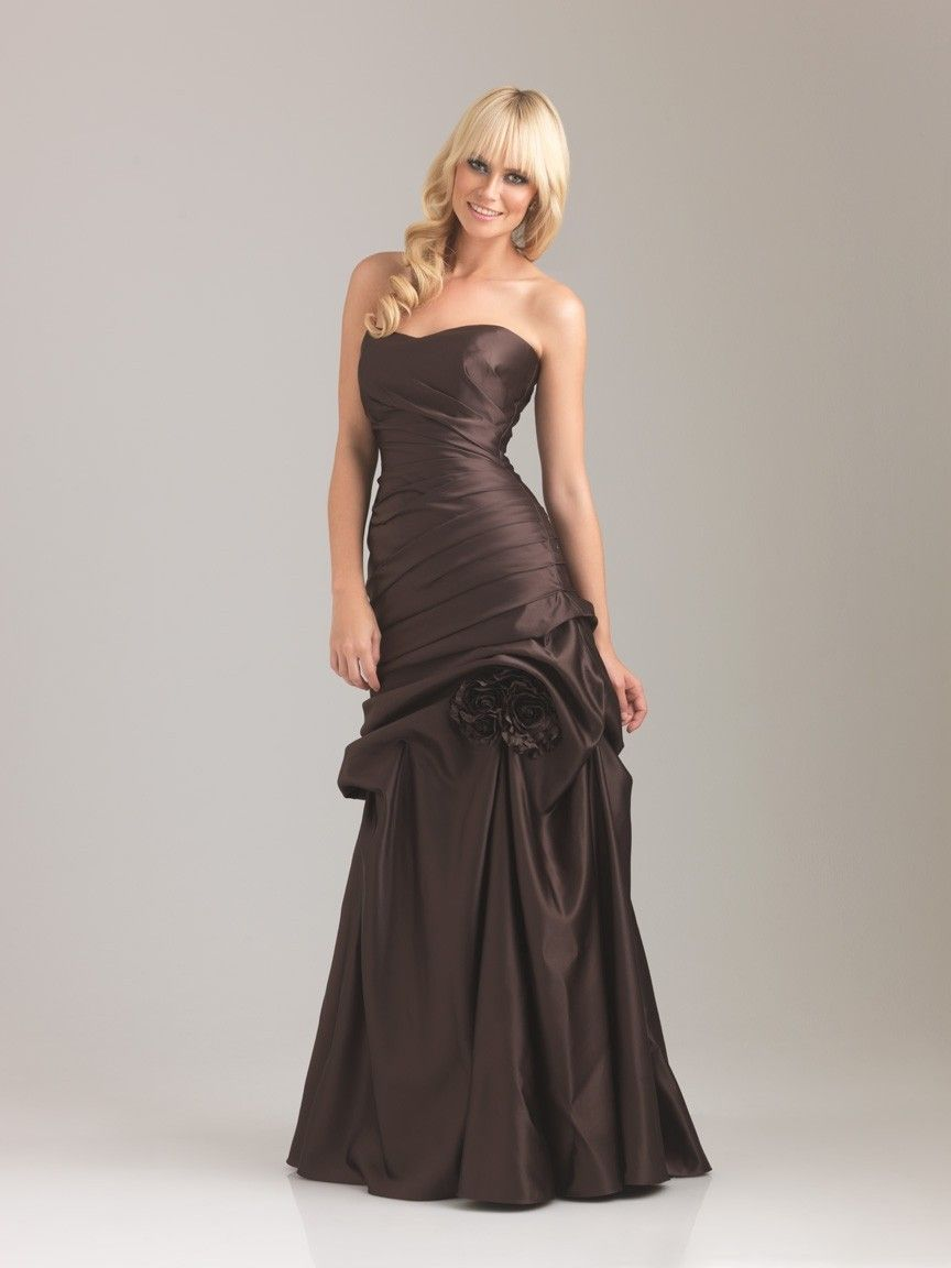 Dress for wedding party female  Trendy Strapless Satin Tiered Flowers Sweep Train Maid of Honour at