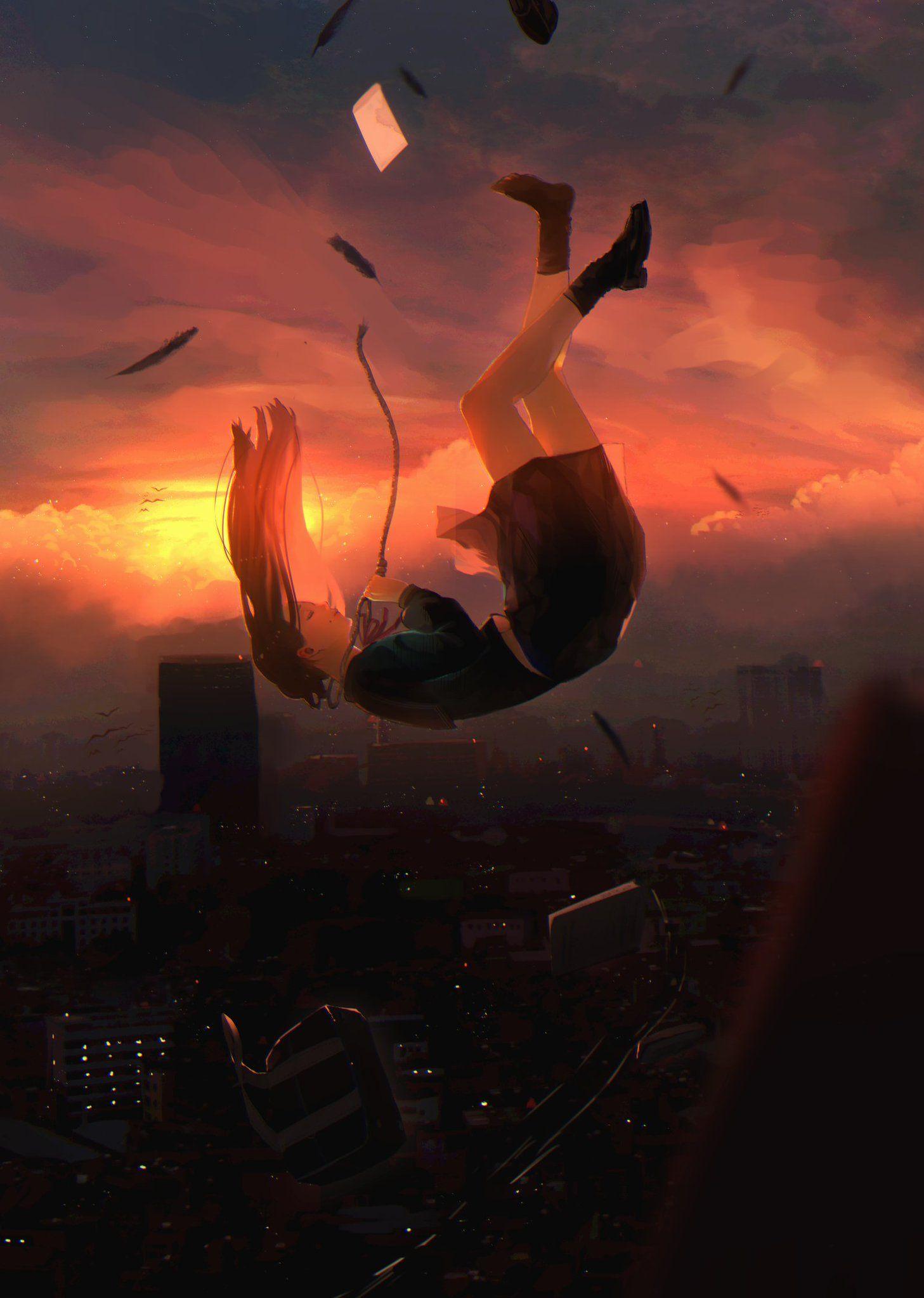 Картинки девочки падающей с крыши