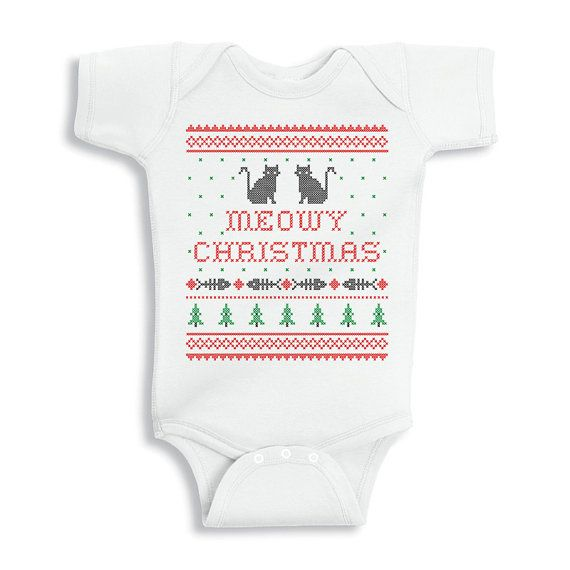 Baby Onesie Meowy Christmas Funny Baby Christmas by TATYKids