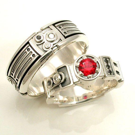 light saber engagement ring set darth vader his and hers star wars wedding sterling - Star Wars Wedding Ring