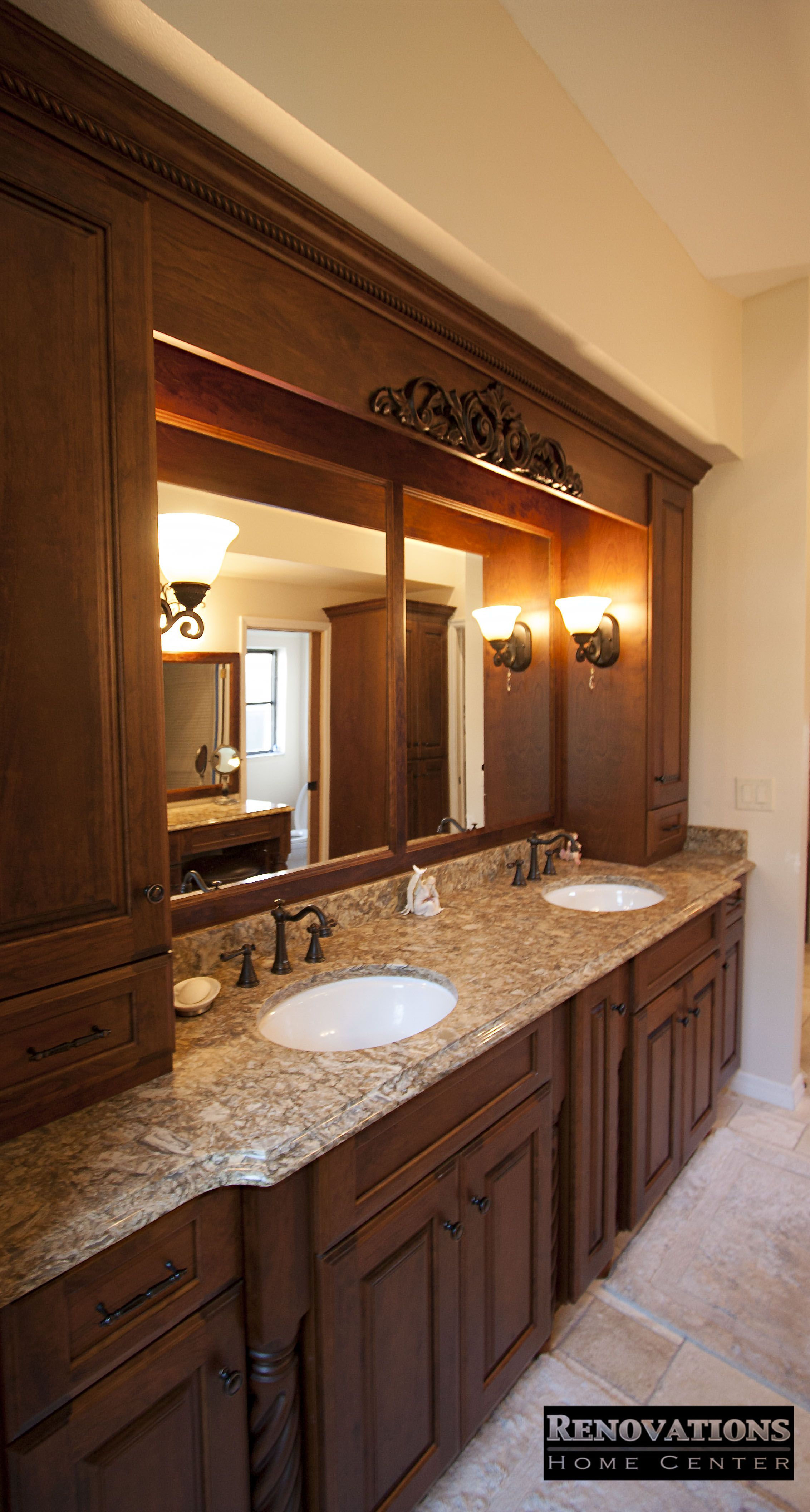 Master Bathroom Renovation For Our Client In Palm Harbor We Replaced All Cabinetry With Wood Countertops Kitchen And Bath Remodeling Kitchen Bathroom Remodel
