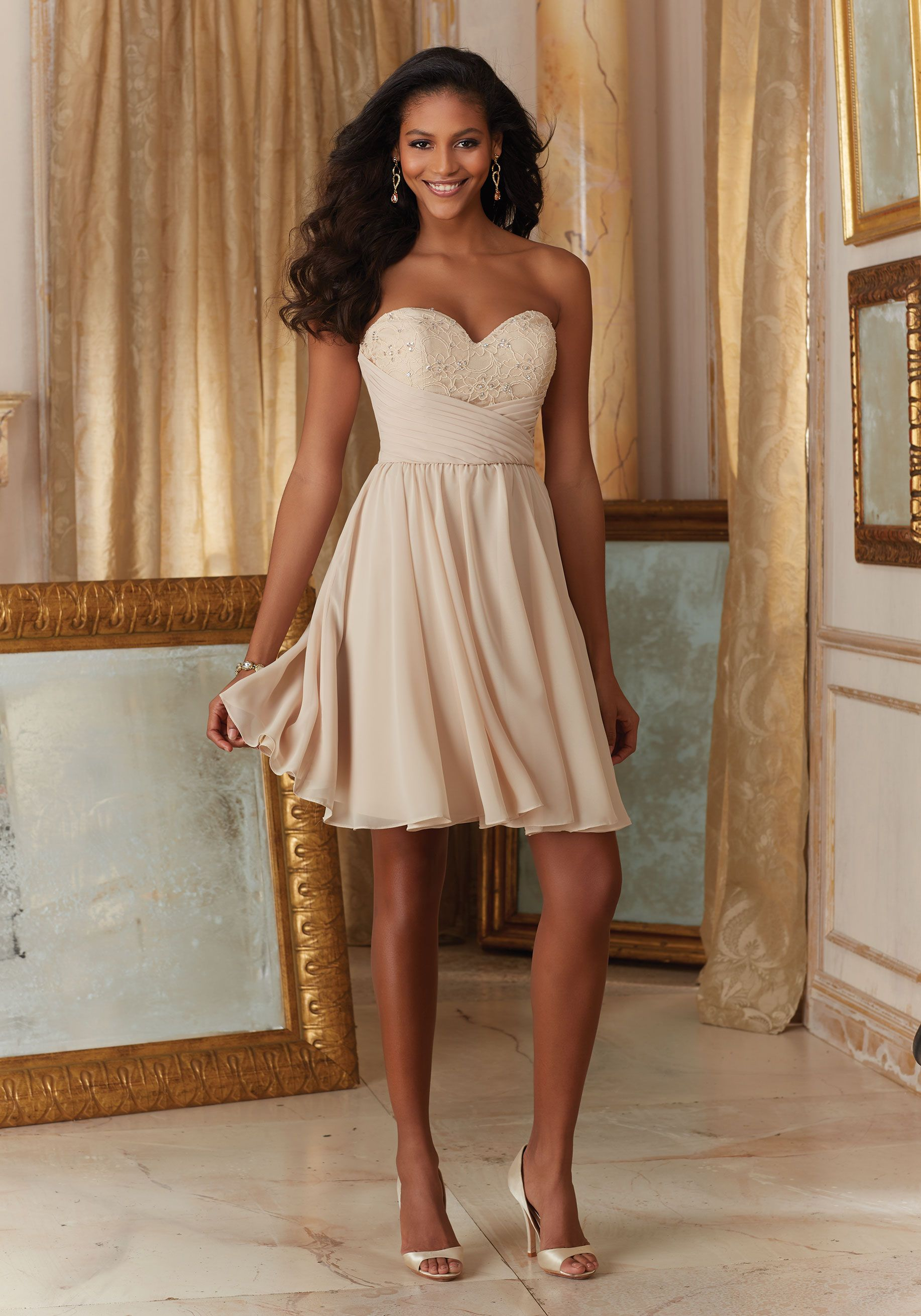 Short Beaded Lace and Chiffon Champagne Bridesmaid Dress Morilee ...
