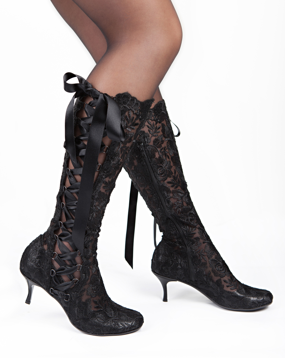 65ea03163a8d Black Lace Boots - Vintage Knee Length Boots - Wedding Boots - Bridal Boots