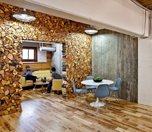 Log Wall Office Office Interior Design Modern Office Design Creative Office Design