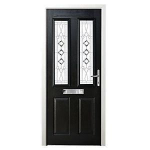 Superior Wickes Malton Composite Door Black 2 Panel 2100 X 920mm Left Opening