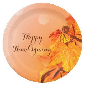 Happy Thanksgiving Colorful Golden Maple Leaves 9 Inch Paper Plate