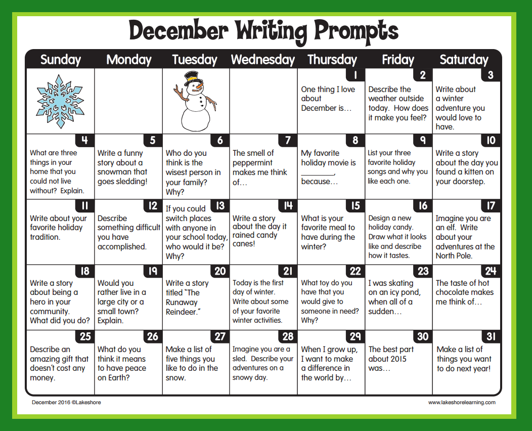 December Writing Prompts From Lakeshore Learning