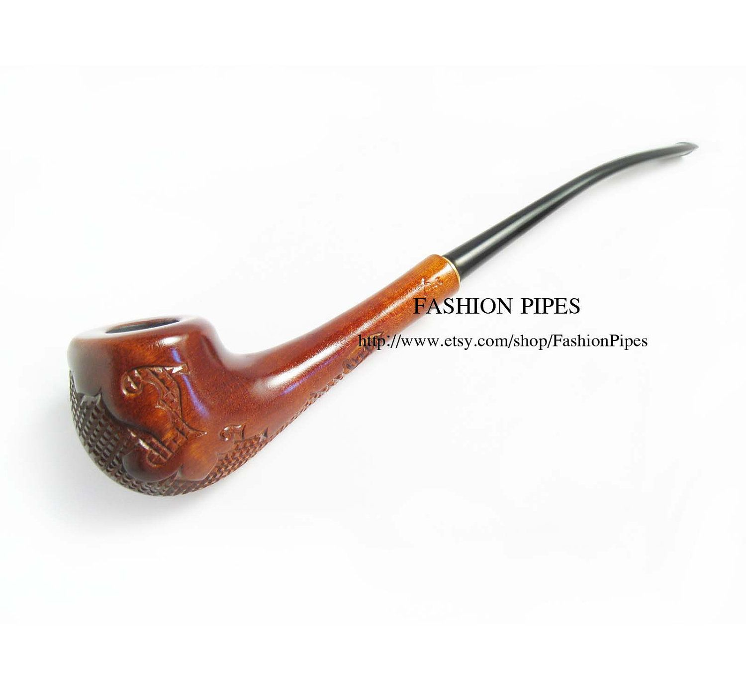 Lady Wooden Tobacco Pipe Engraved Versailles Long Smoking Pipe
