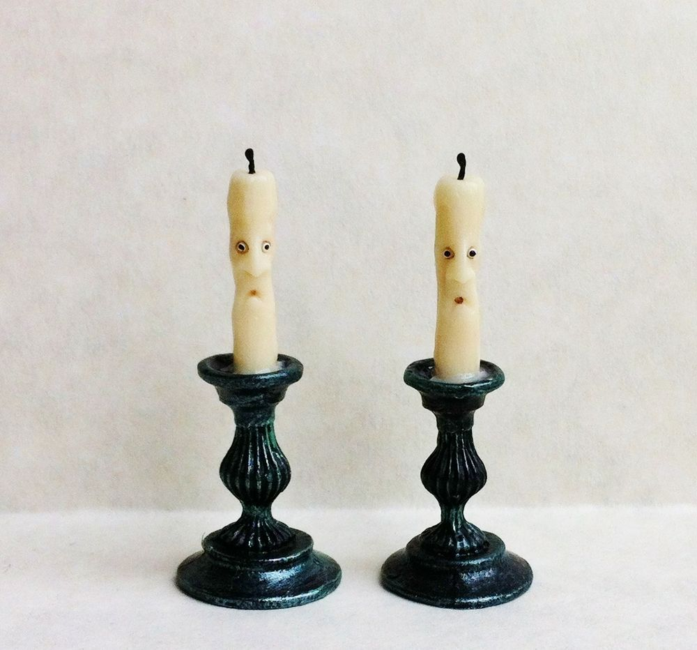 D/house Miniature Enchanted Candle Table Stands 1/12th Witch/Wizard Handmade CWM