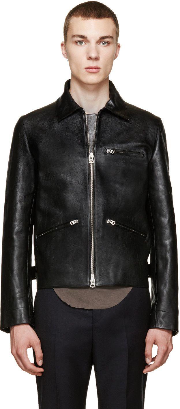 Acne Studios Black Leather August Jacket Mens Fashion Edgy Leather Jacket Style Jackets