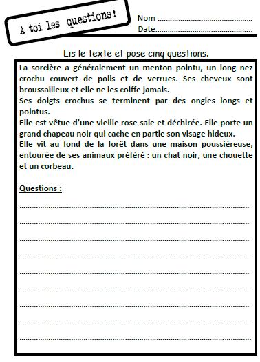 A Toi Les Questions Lecture Comprehension Ce1 Lecture Comprehension De Lecture