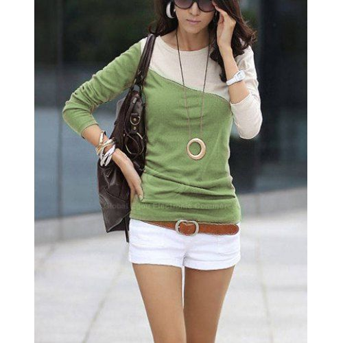 Glamour Round Neck Color Block Splice Design Long Sleeve Slim Fit Cotton Blend T-Shirt