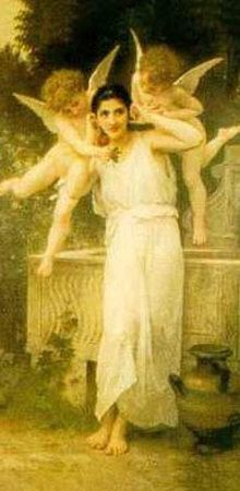 Young Lady with Two Angels  Art Print  by William Adolphe Bouguereau