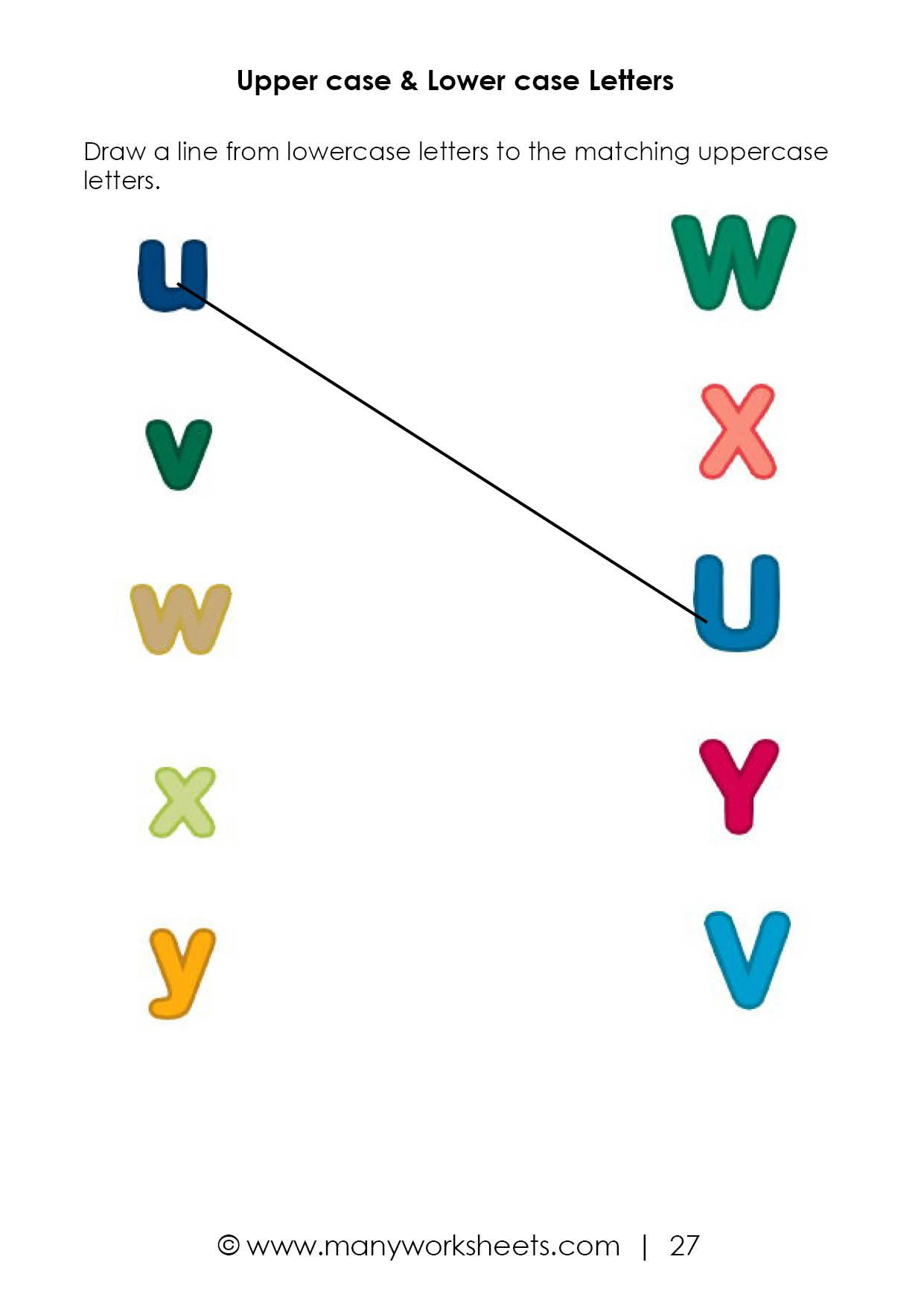 Matching Uppercase And Lowercase Worksheet 5 In