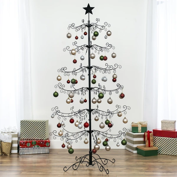 Wrought Iron Christmas Tree Ornament Display W Easy Assembly Stand 6ft In 2020 Wrought Iron Christmas Tree Ornament Display Metal Christmas Tree