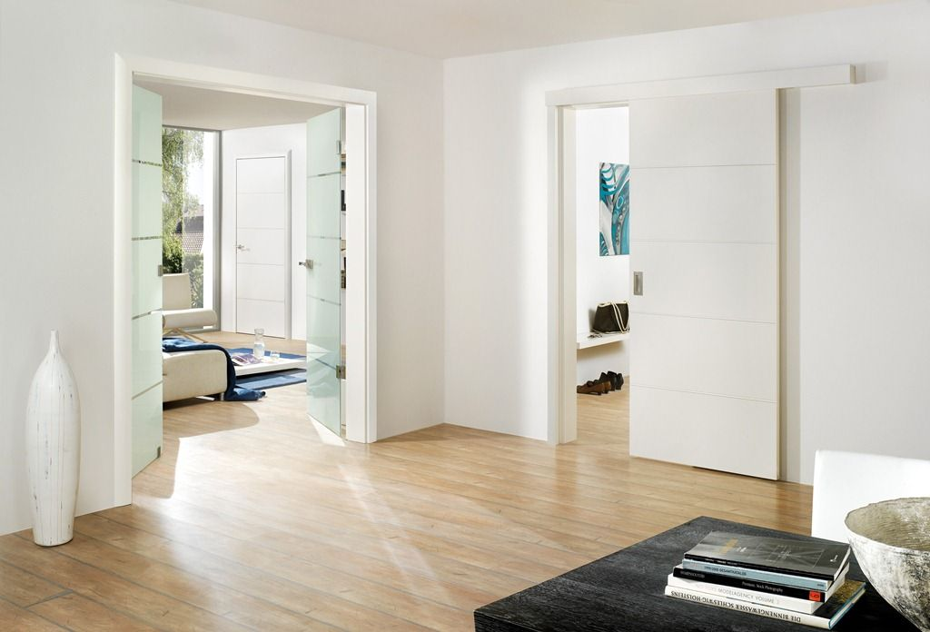 Cool Sliding Interior Door With White Color Design And Hardwood Floor Feat  Tall Contemporary Window Idea
