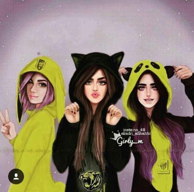 Una Pijamas Con Mis Amijas Em 2020 Desenhos Animados De
