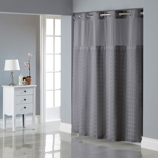 Hookless Square Tile Jacquard Lined Shower Curtain Grey 75 Liked On Polyvore