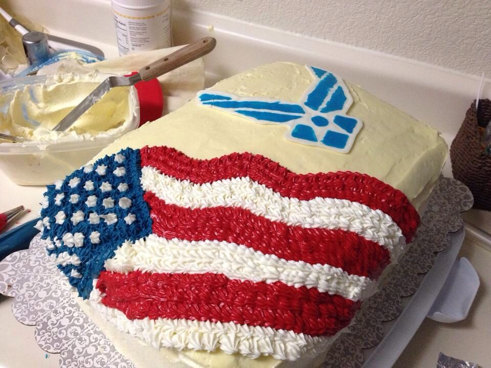 My sons going away party cake