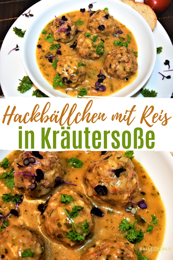 Photo of Meatballs with rice in herb sauce