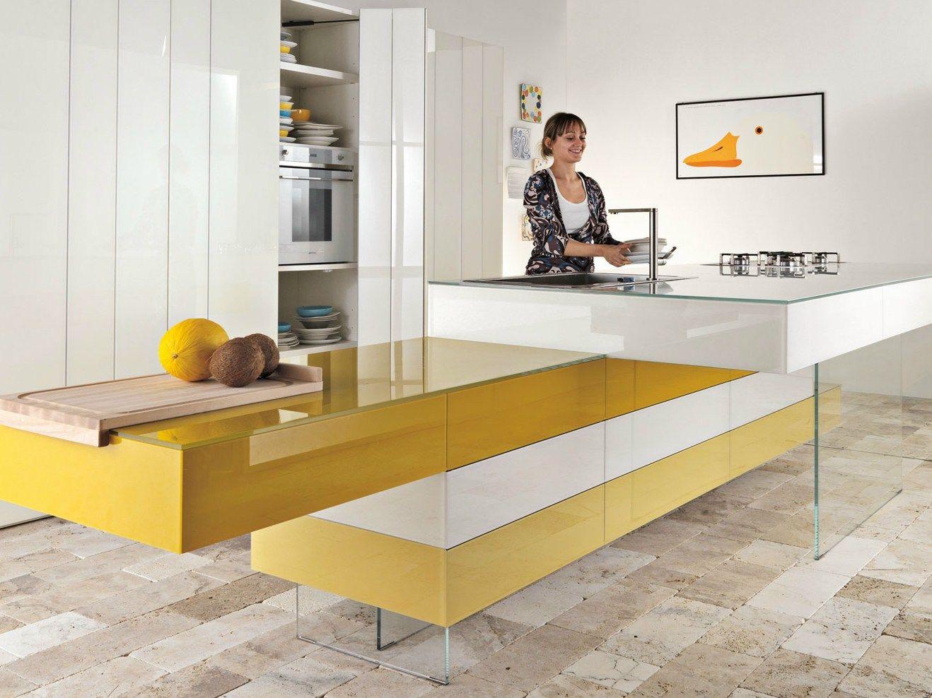 Lackierte Einbauküche mit Kücheninsel Kollektion 36e8 by Lago ...