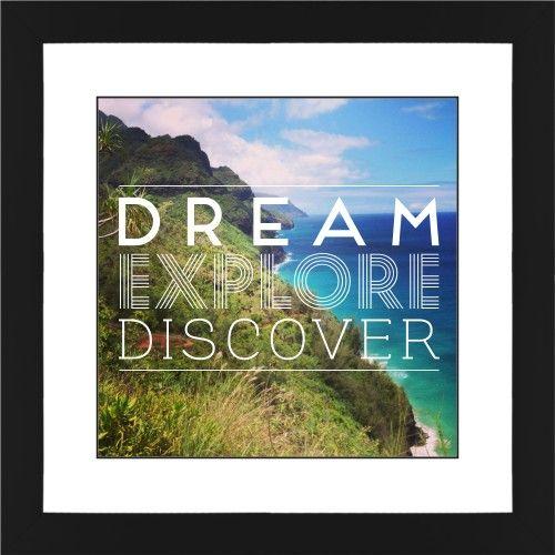 Dream Explore Discover Framed Print, Black, Contemporary, Black, White, Single piece, 12 x 12 inches, White