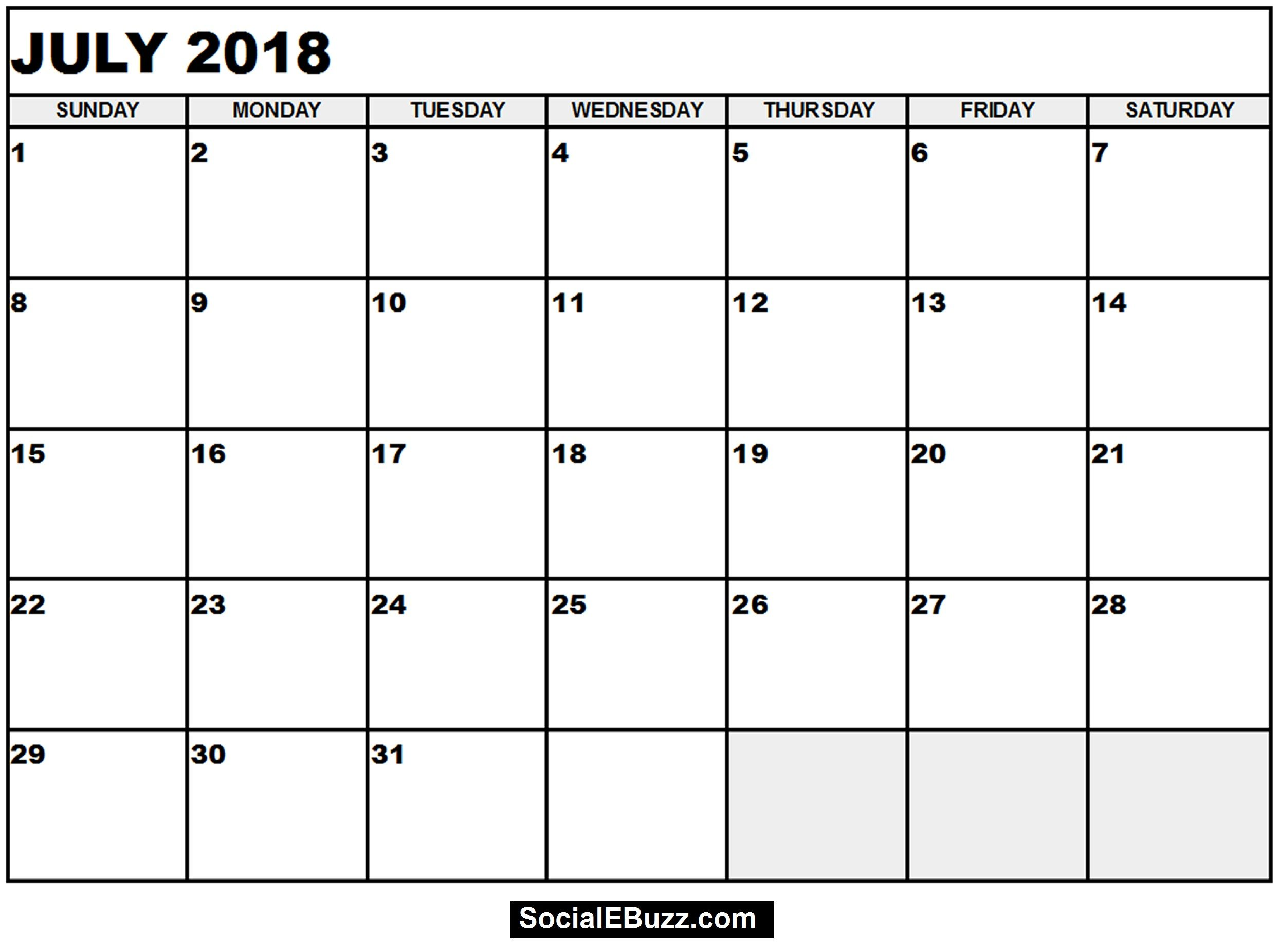 july 2018 calendar template word